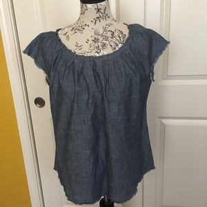 Lauren Conrad Denim Tie Back Top